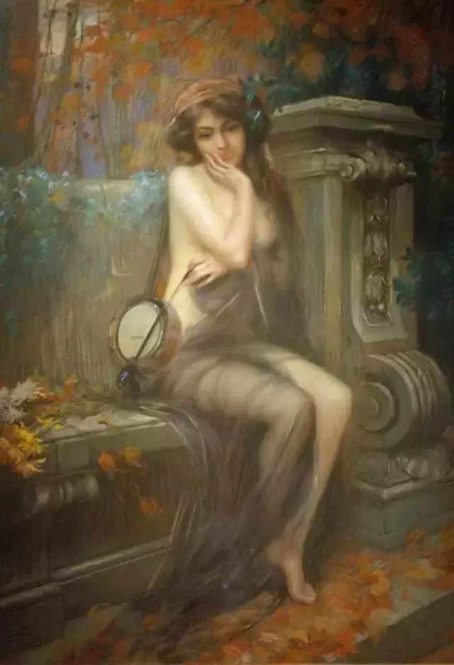 灯下优雅年轻女性 法国画家Delphin Enjolras插图39
