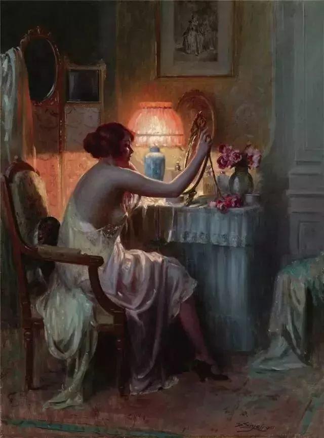灯下优雅年轻女性 法国画家Delphin Enjolras插图41