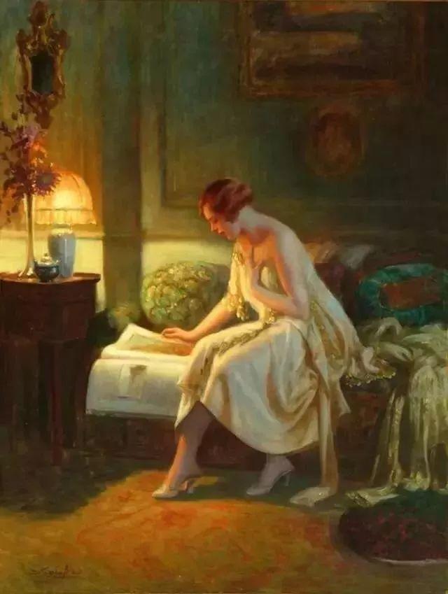 灯下优雅年轻女性 法国画家Delphin Enjolras插图43