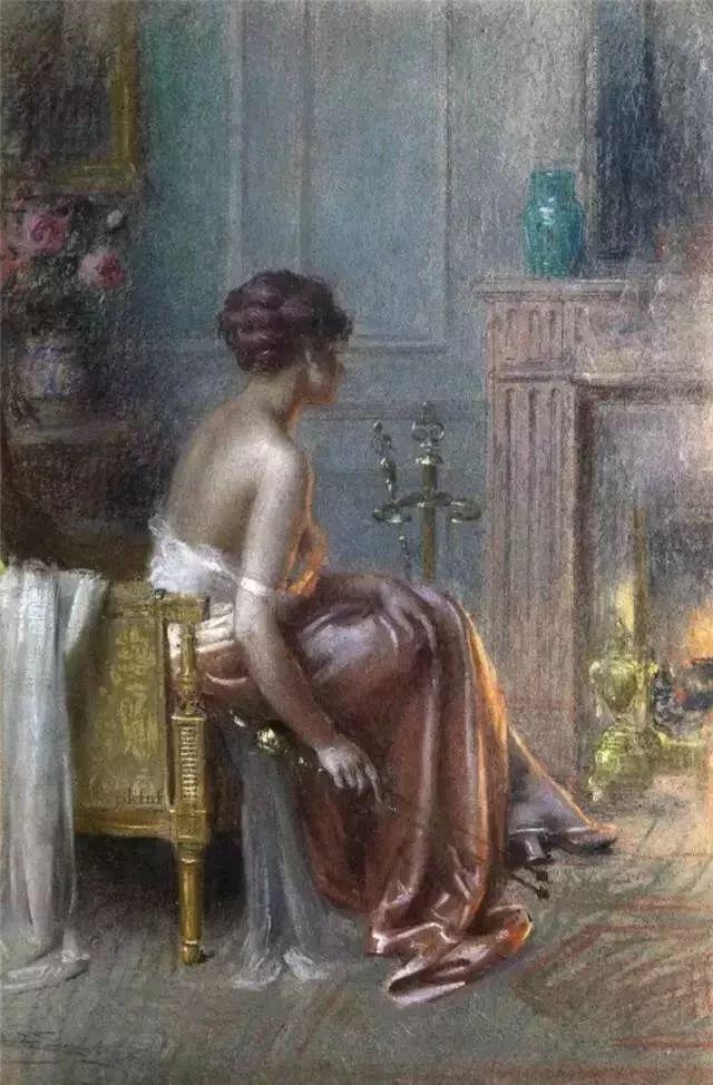 灯下优雅年轻女性 法国画家Delphin Enjolras插图45