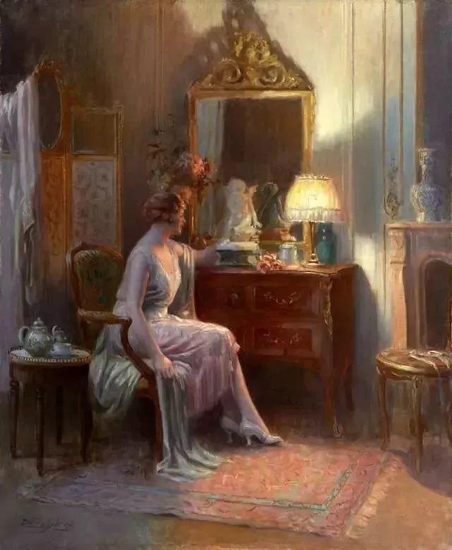 灯下优雅年轻女性 法国画家Delphin Enjolras插图47