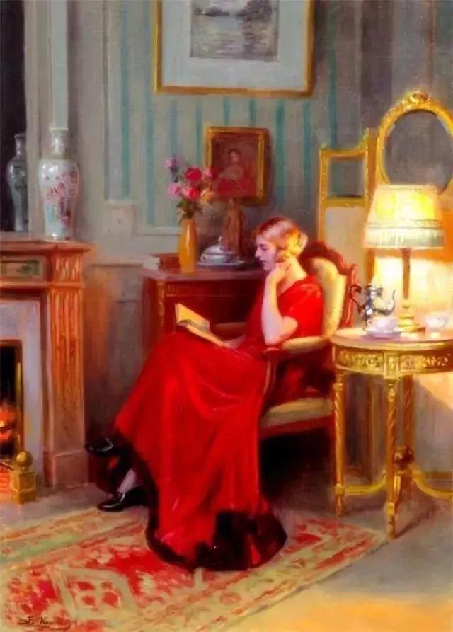 灯下优雅年轻女性 法国画家Delphin Enjolras插图51