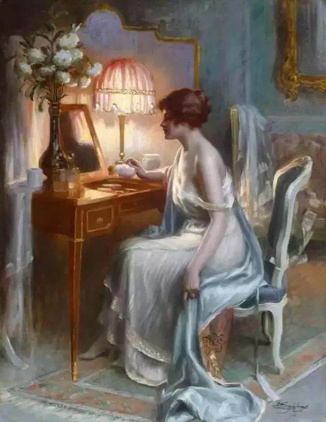 灯下优雅年轻女性 法国画家Delphin Enjolras插图55