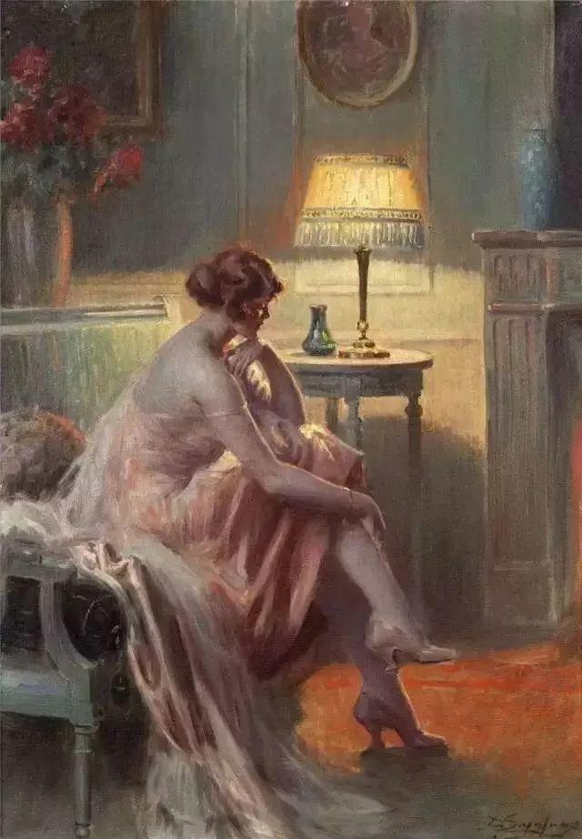 灯下优雅年轻女性 法国画家Delphin Enjolras插图57