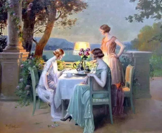 灯下优雅年轻女性 法国画家Delphin Enjolras插图63