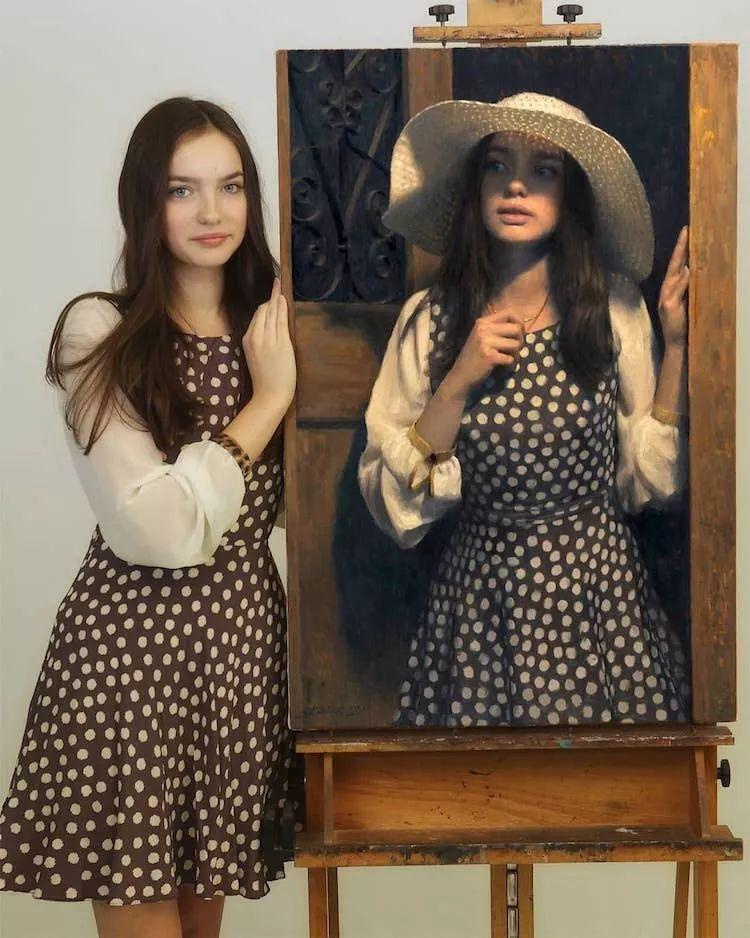 眼前一亮,模特与画像同框!波兰画家达米安·莱科斯特插图7