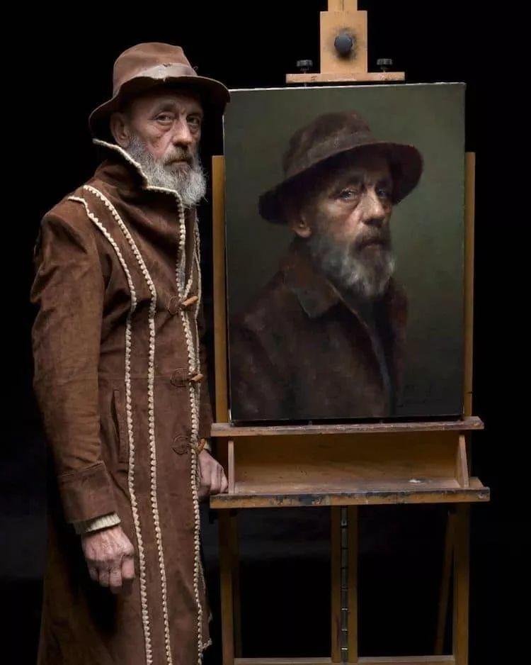 眼前一亮,模特与画像同框!波兰画家达米安·莱科斯特插图11
