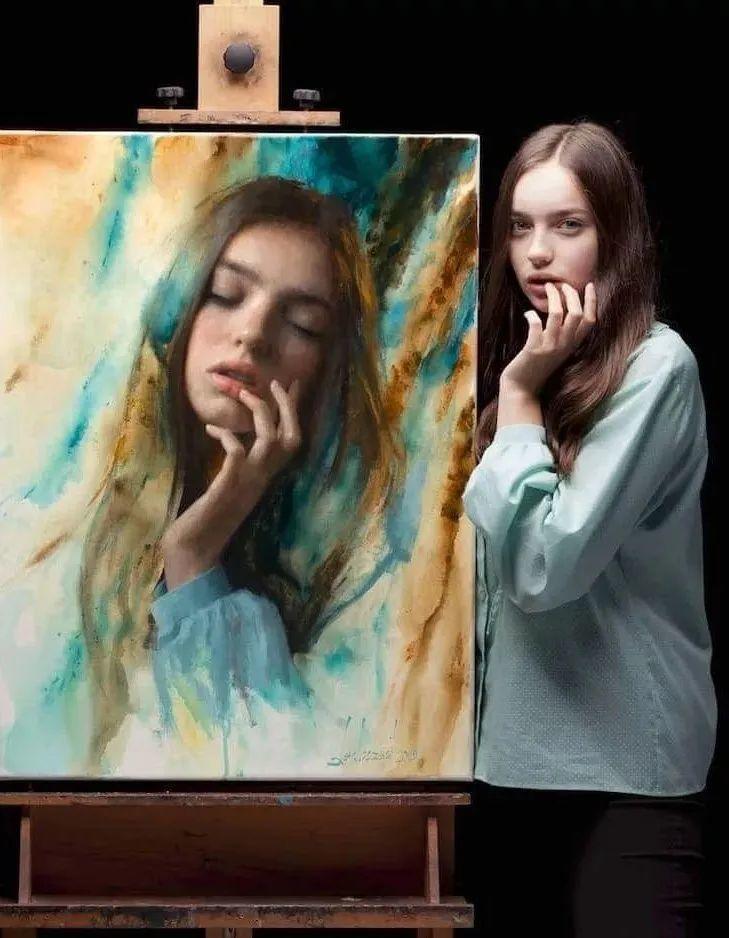 眼前一亮,模特与画像同框!波兰画家达米安·莱科斯特插图19