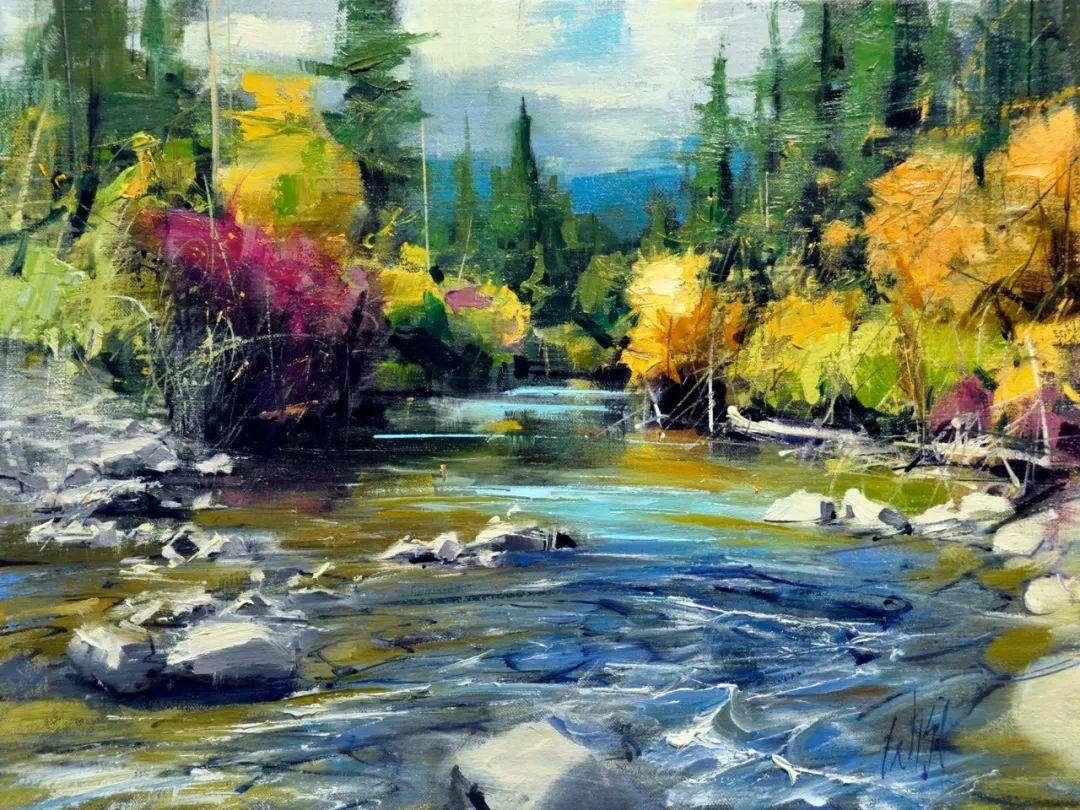 色彩纹理丰富,动感有活力的风景画插图27