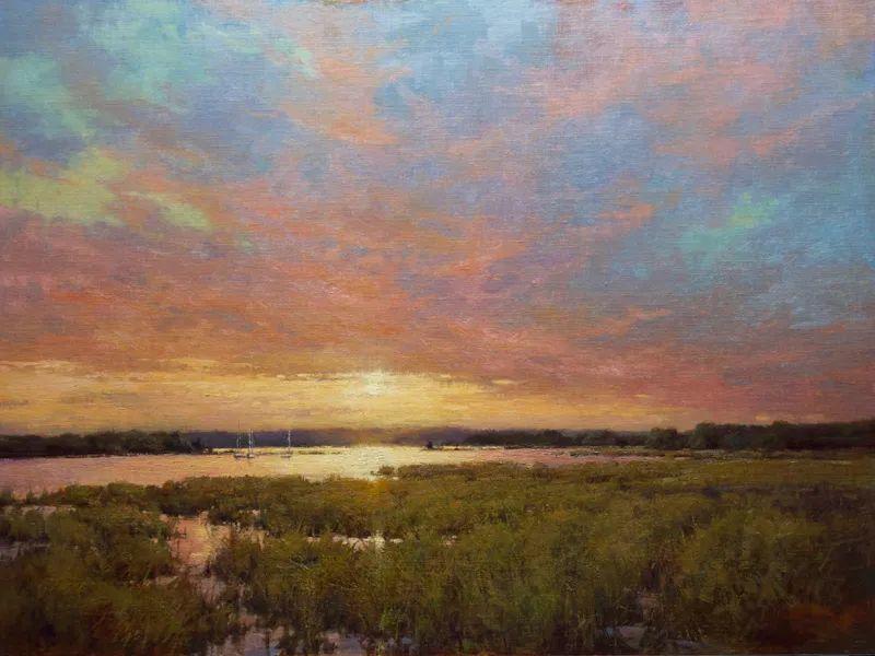 壮丽的山脉和海岸线景色,美国女画家辛迪·拜伦插图1