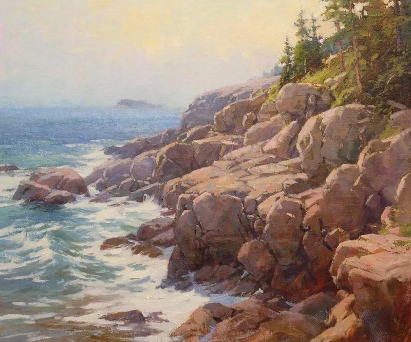 壮丽的山脉和海岸线景色,美国女画家辛迪·拜伦插图45