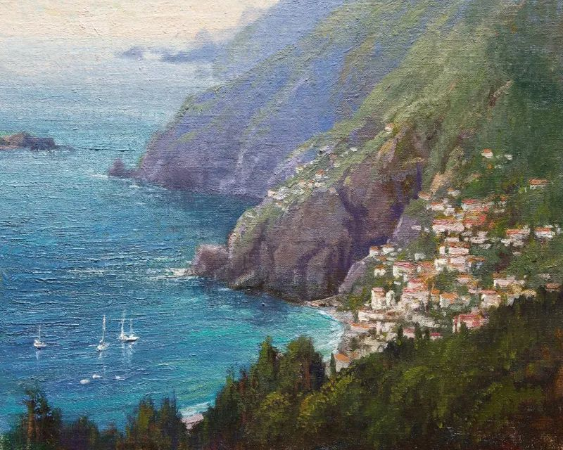 壮丽的山脉和海岸线景色,美国女画家辛迪·拜伦插图53