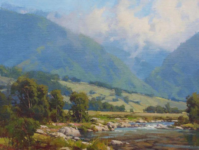 壮丽的山脉和海岸线景色,美国女画家辛迪·拜伦插图59