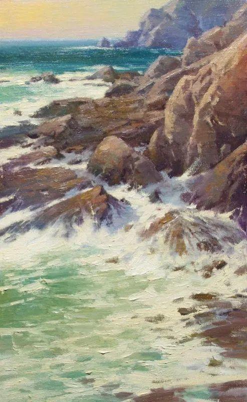 壮丽的山脉和海岸线景色,美国女画家辛迪·拜伦插图71