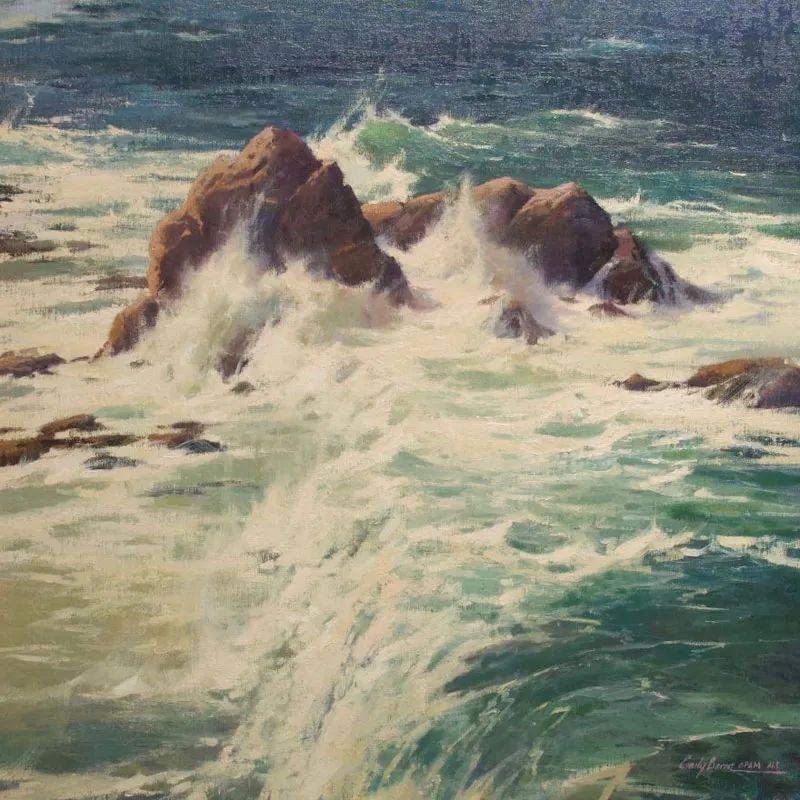 壮丽的山脉和海岸线景色,美国女画家辛迪·拜伦插图83