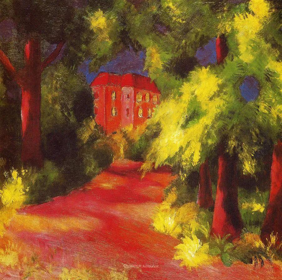 色彩既纯又亮,闪耀着诱人的光彩,德国画家奥古斯特·马克插图17