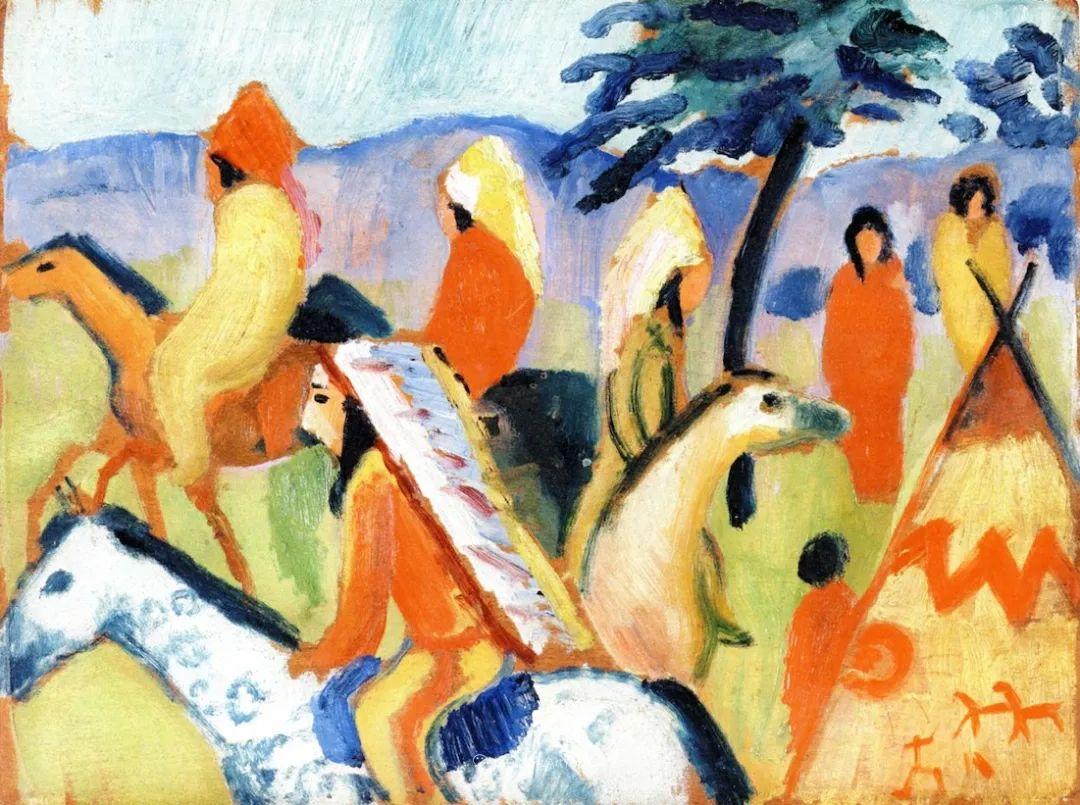 色彩既纯又亮,闪耀着诱人的光彩,德国画家奥古斯特·马克插图47