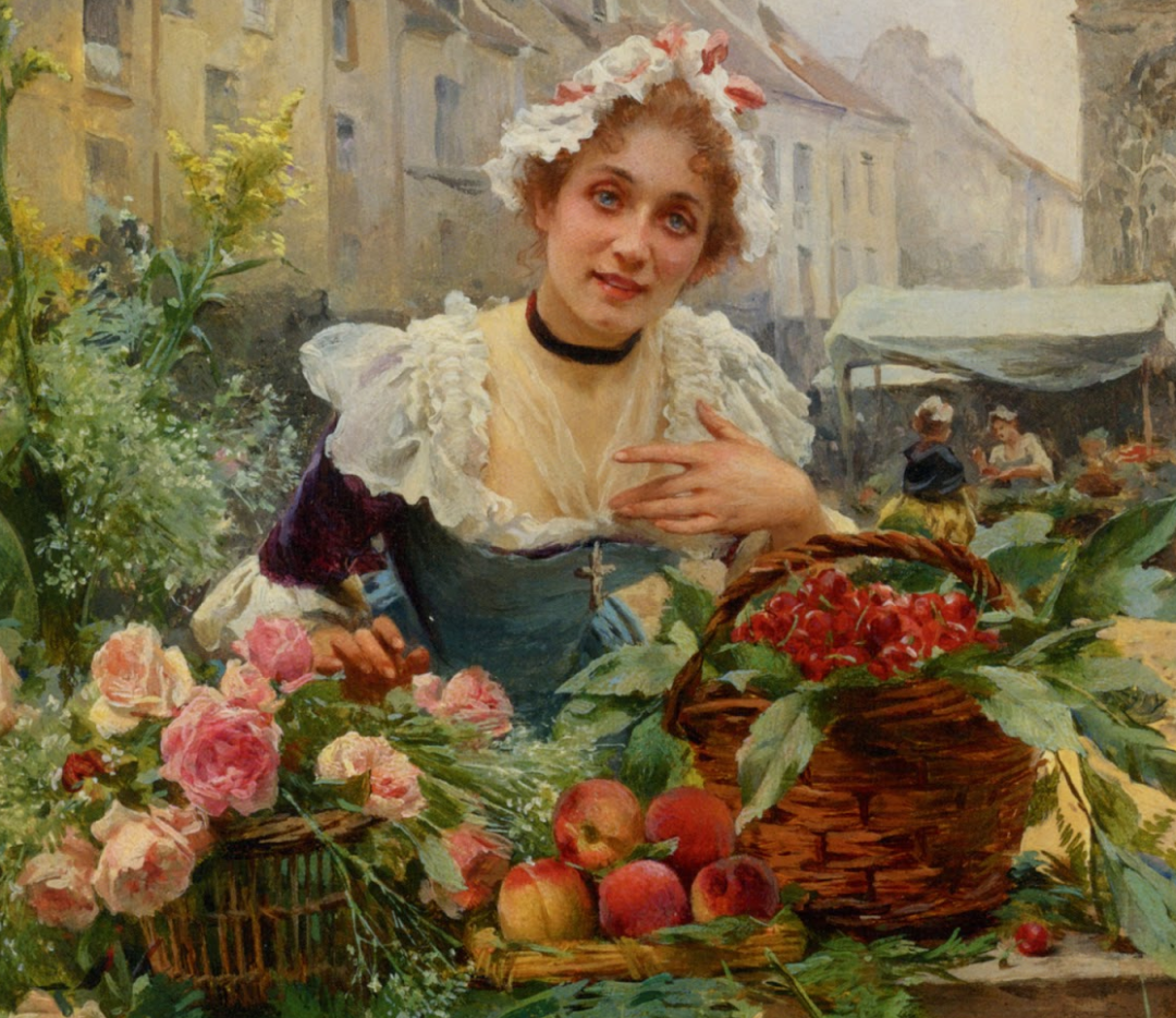饱蘸亮丽色彩的画笔,描绘着百年前的卖花女郎!插图1