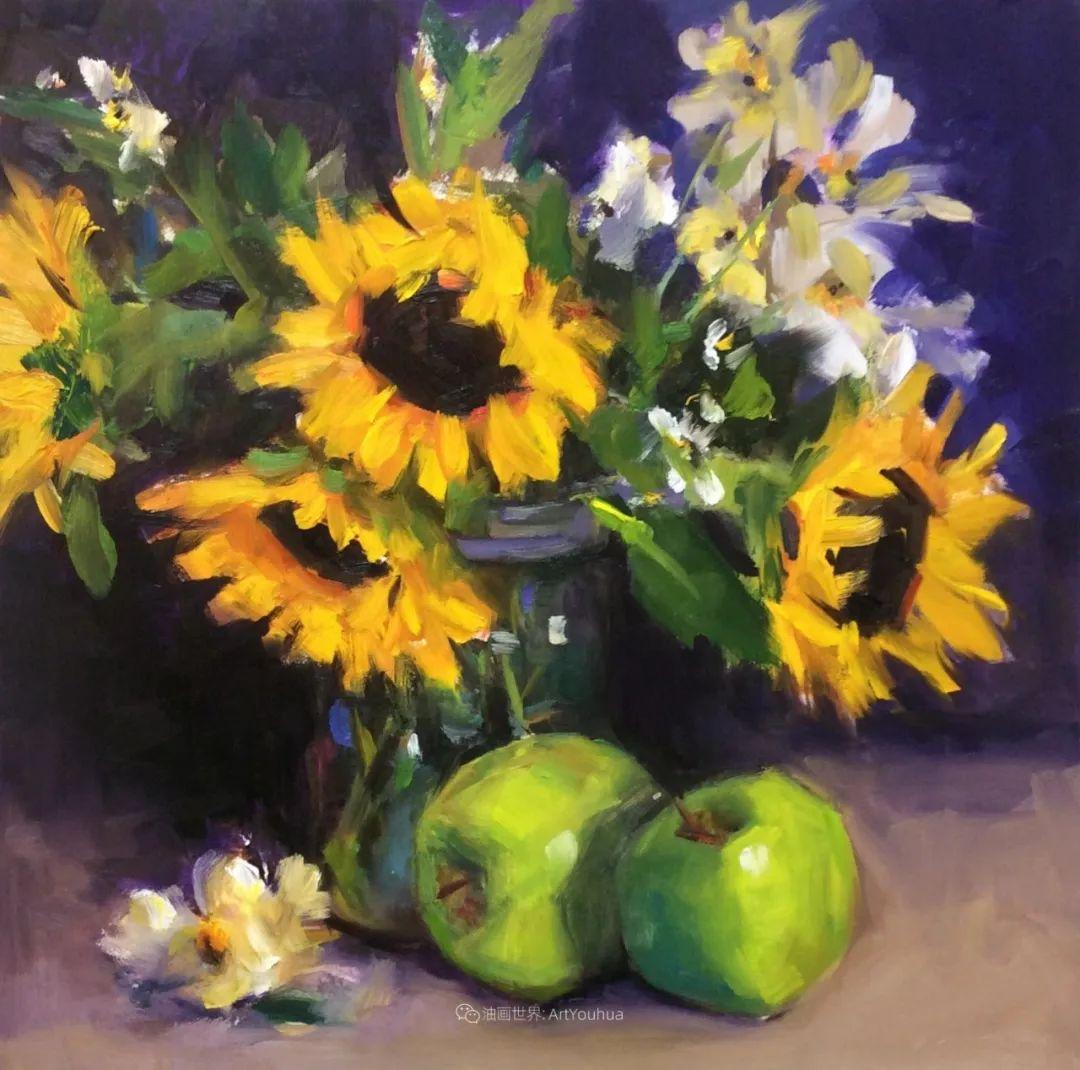 大笔触、充满活力色彩的花卉,美国女画家劳里·莱普科斯卡插图1