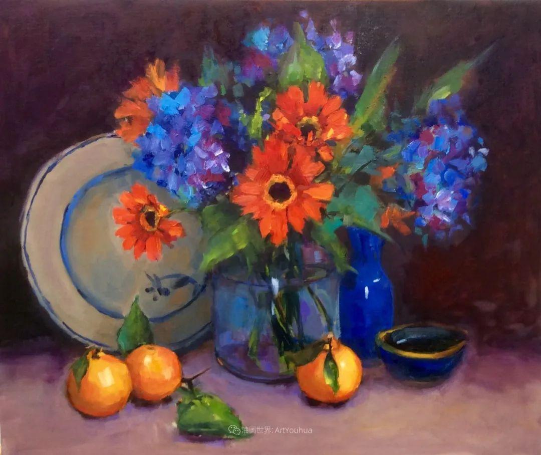大笔触、充满活力色彩的花卉,美国女画家劳里·莱普科斯卡插图5