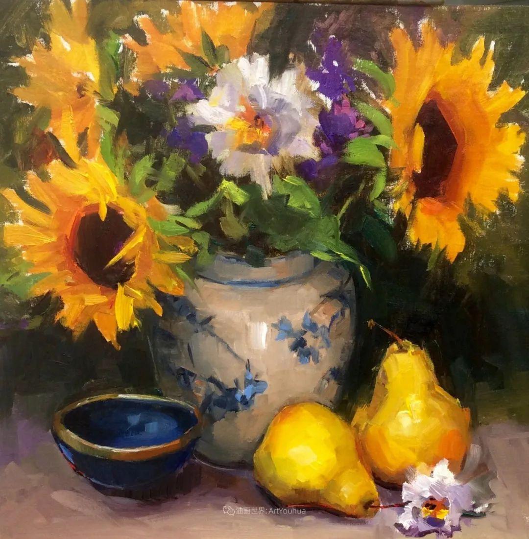 大笔触、充满活力色彩的花卉,美国女画家劳里·莱普科斯卡插图9