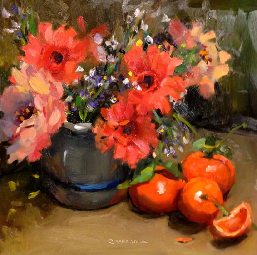大笔触、充满活力色彩的花卉,美国女画家劳里·莱普科斯卡插图13