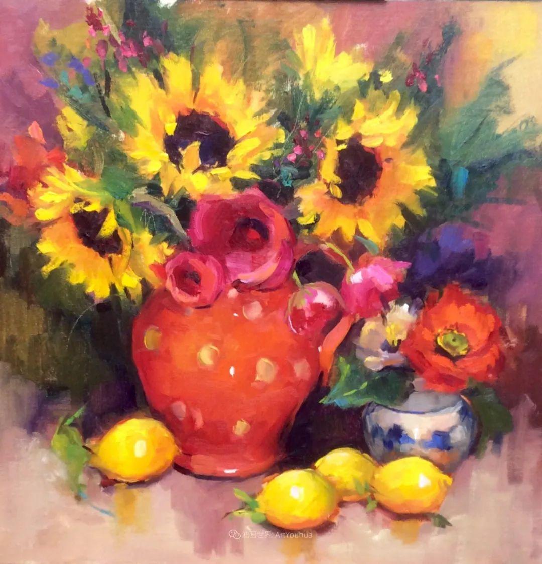 大笔触、充满活力色彩的花卉,美国女画家劳里·莱普科斯卡插图15