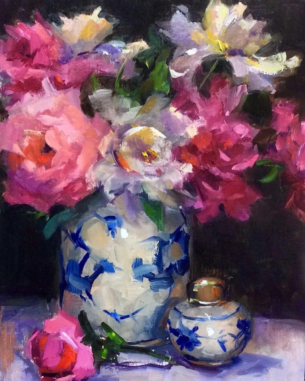 大笔触、充满活力色彩的花卉,美国女画家劳里·莱普科斯卡插图19