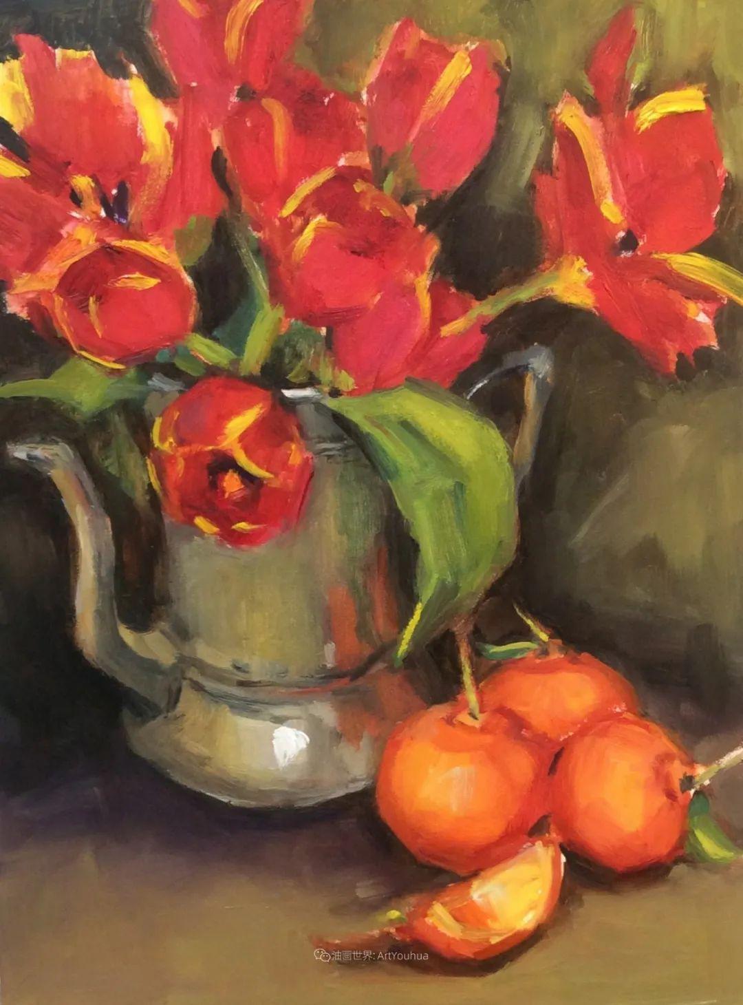 大笔触、充满活力色彩的花卉,美国女画家劳里·莱普科斯卡插图29