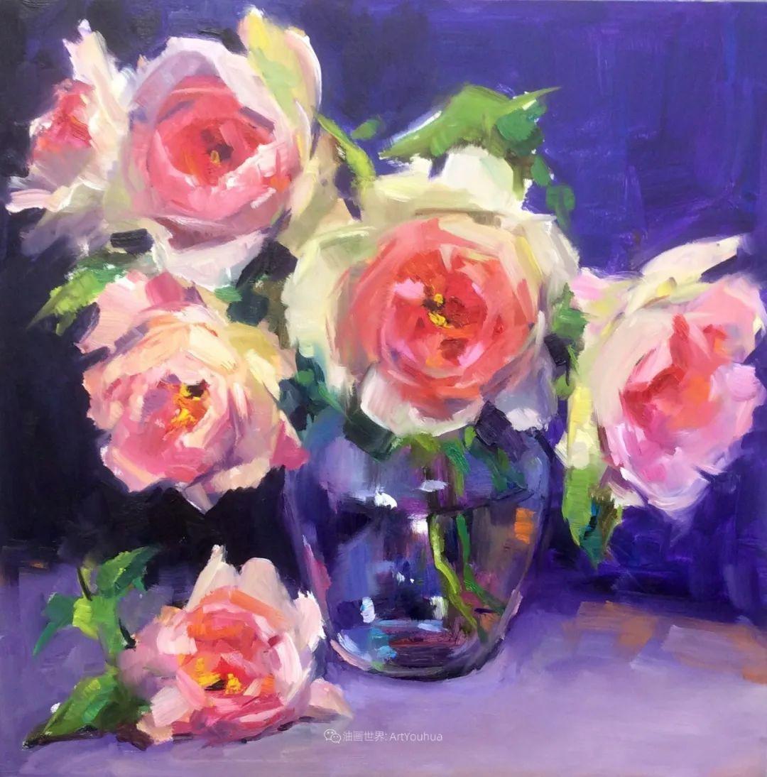 大笔触、充满活力色彩的花卉,美国女画家劳里·莱普科斯卡插图31