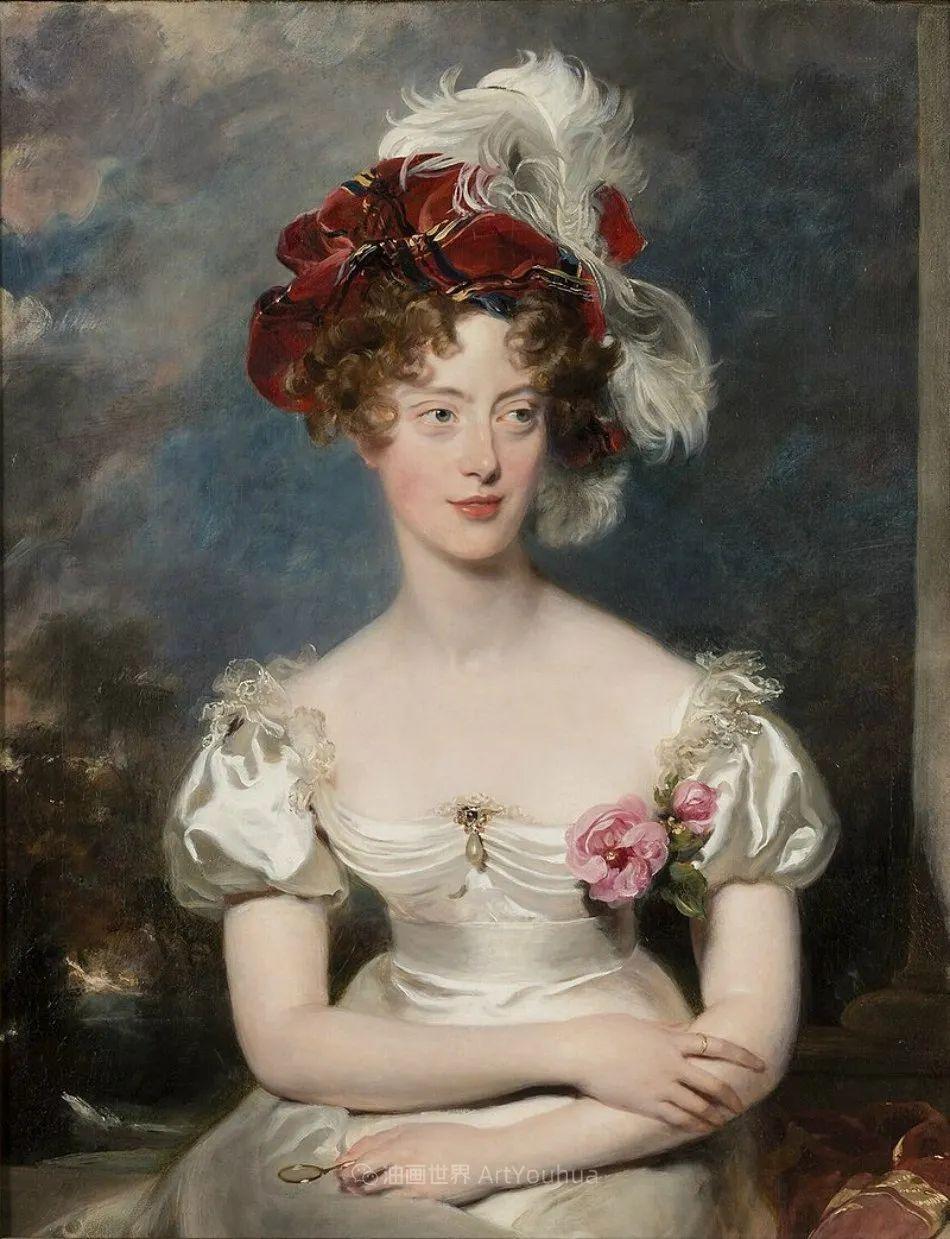 两百年前华丽风格的女性肖像,奔放的笔触、明亮的色彩!插图31