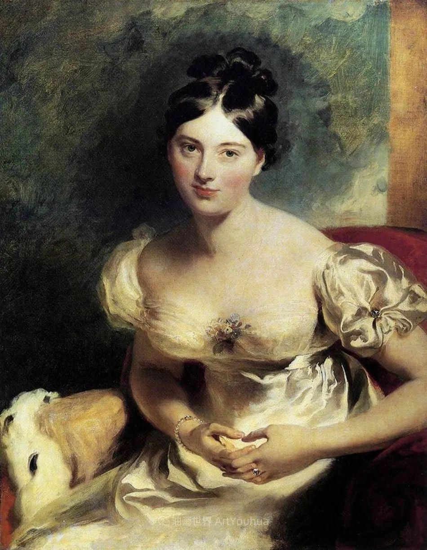两百年前华丽风格的女性肖像,奔放的笔触、明亮的色彩!插图33