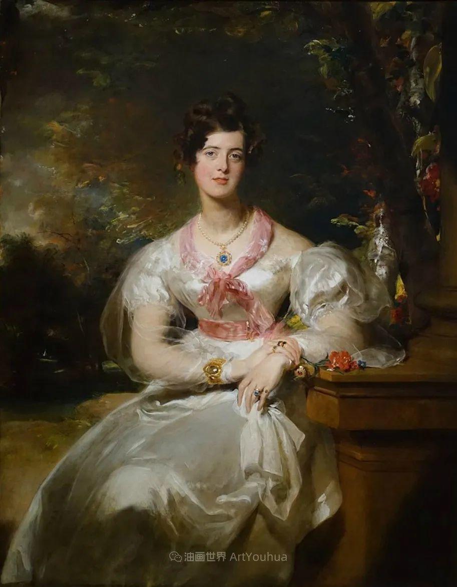 两百年前华丽风格的女性肖像,奔放的笔触、明亮的色彩!插图65