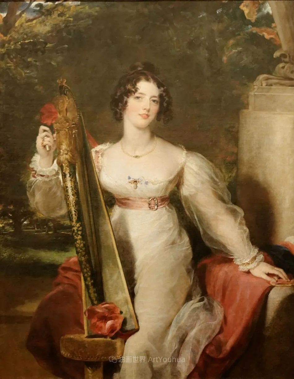 两百年前华丽风格的女性肖像,奔放的笔触、明亮的色彩!插图75