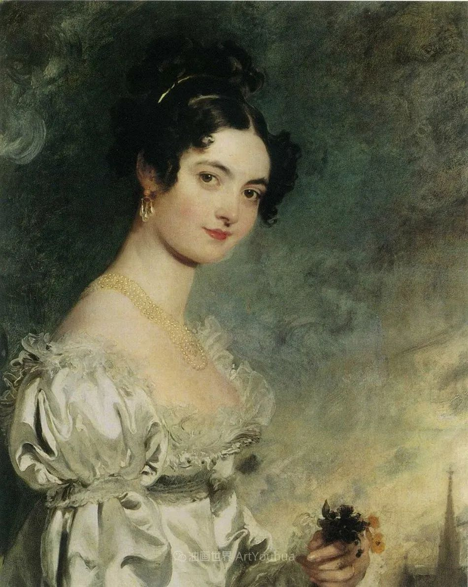 两百年前华丽风格的女性肖像,奔放的笔触、明亮的色彩!插图89