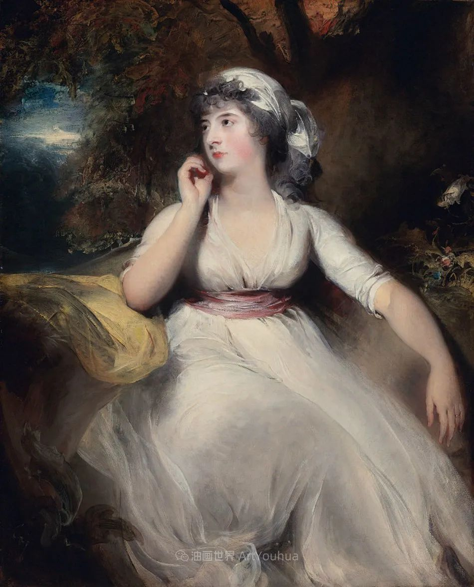 两百年前华丽风格的女性肖像,奔放的笔触、明亮的色彩!插图115