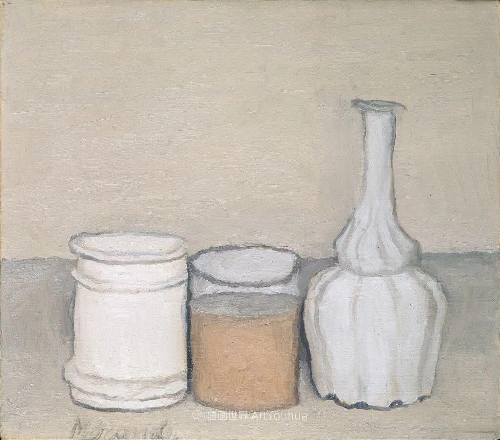 莫兰迪几乎从来不用鲜亮的颜色,把几只瓶子画了一生!插图19
