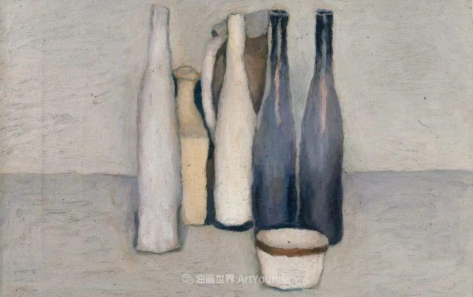 莫兰迪几乎从来不用鲜亮的颜色,把几只瓶子画了一生!插图23