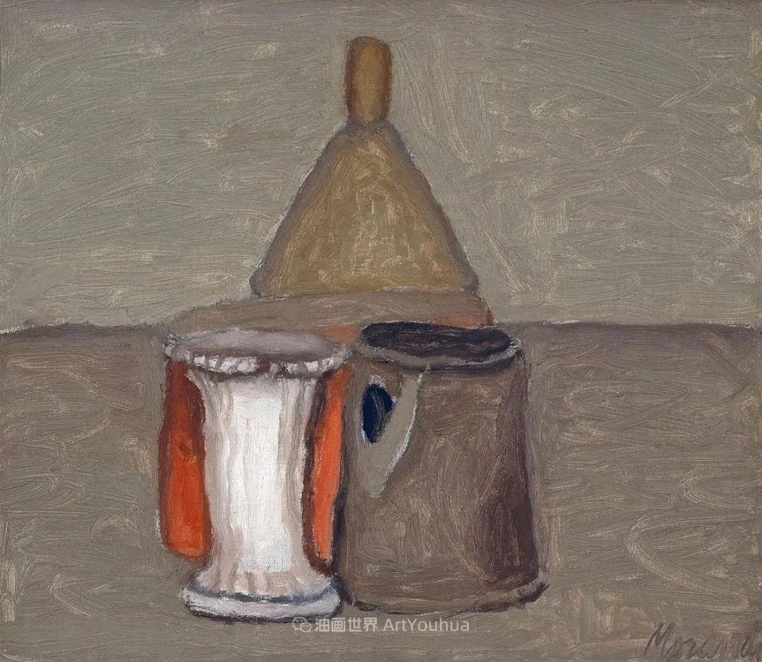 莫兰迪几乎从来不用鲜亮的颜色,把几只瓶子画了一生!插图37