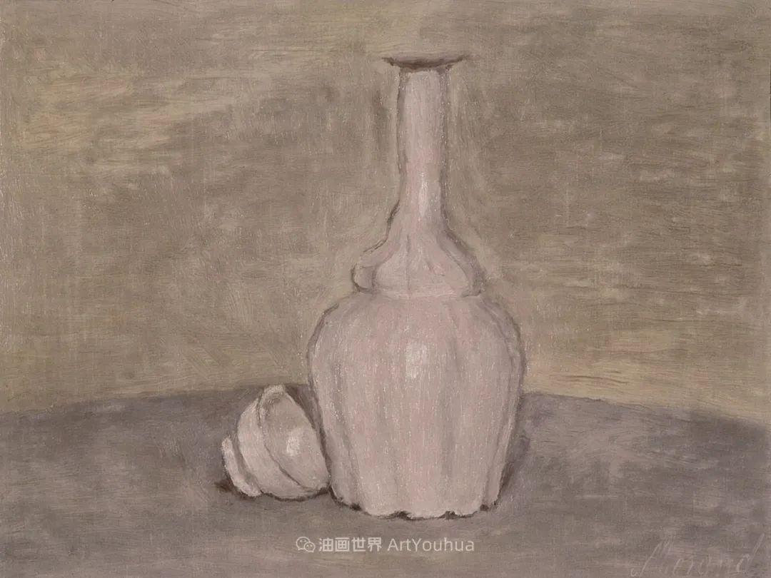 莫兰迪几乎从来不用鲜亮的颜色,把几只瓶子画了一生!插图69