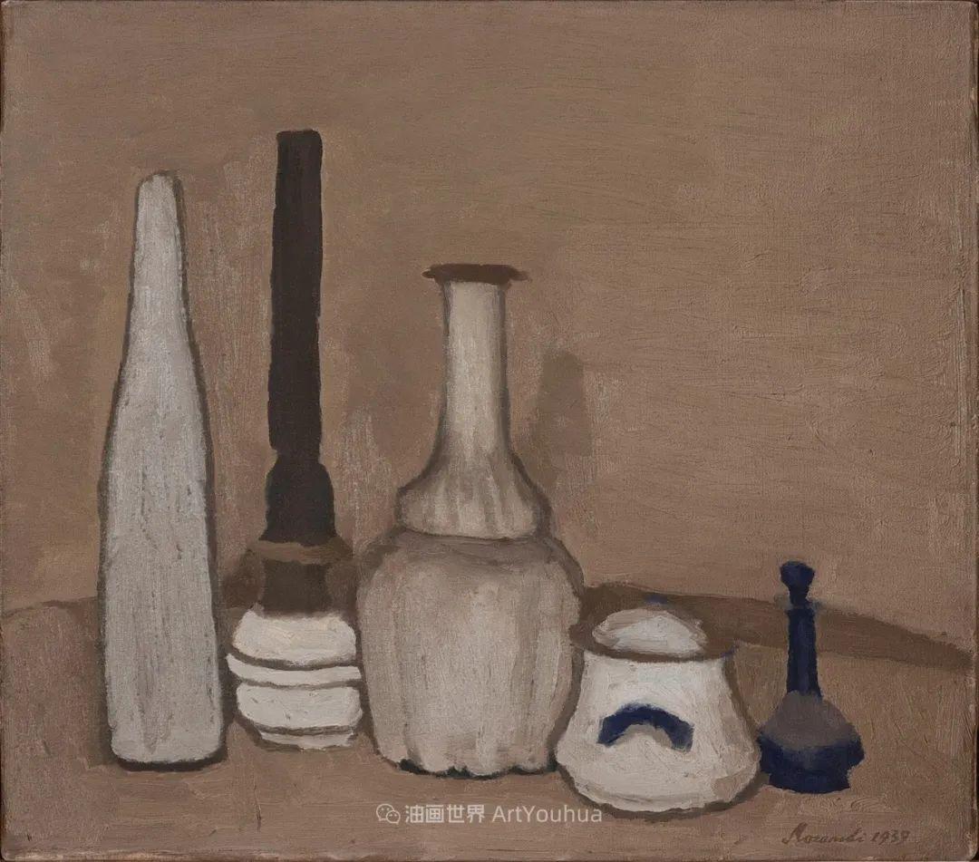 莫兰迪几乎从来不用鲜亮的颜色,把几只瓶子画了一生!插图97