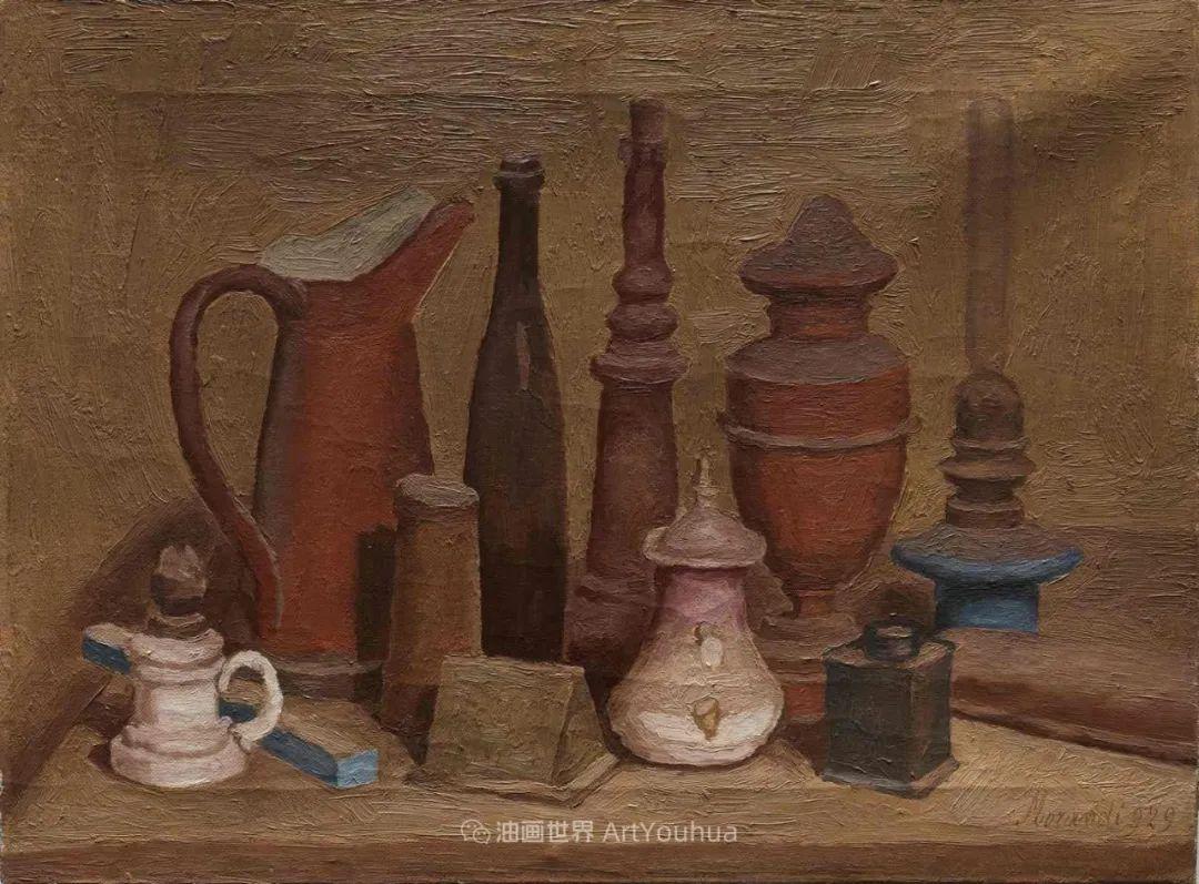 莫兰迪几乎从来不用鲜亮的颜色,把几只瓶子画了一生!插图99