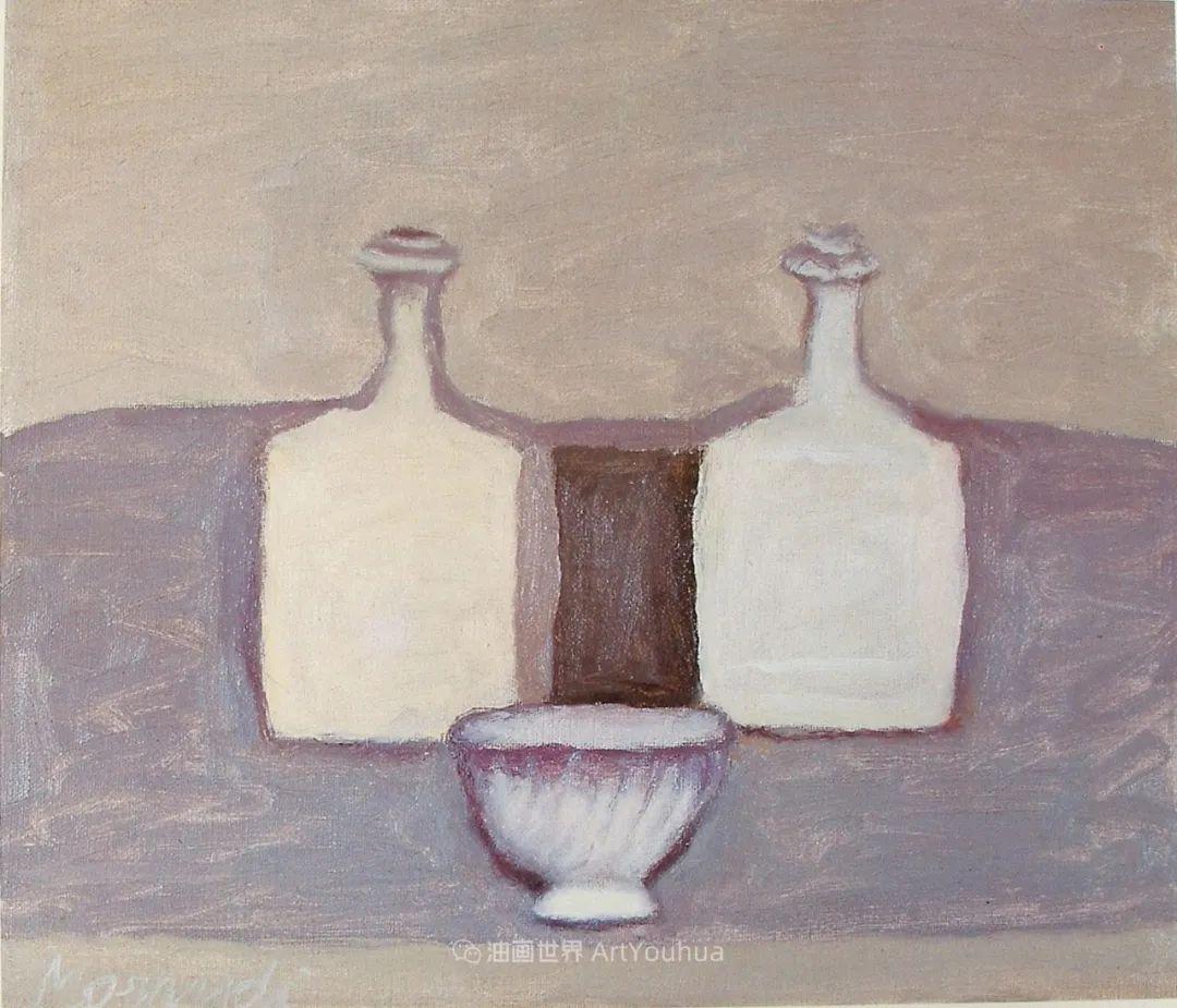 莫兰迪几乎从来不用鲜亮的颜色,把几只瓶子画了一生!插图101