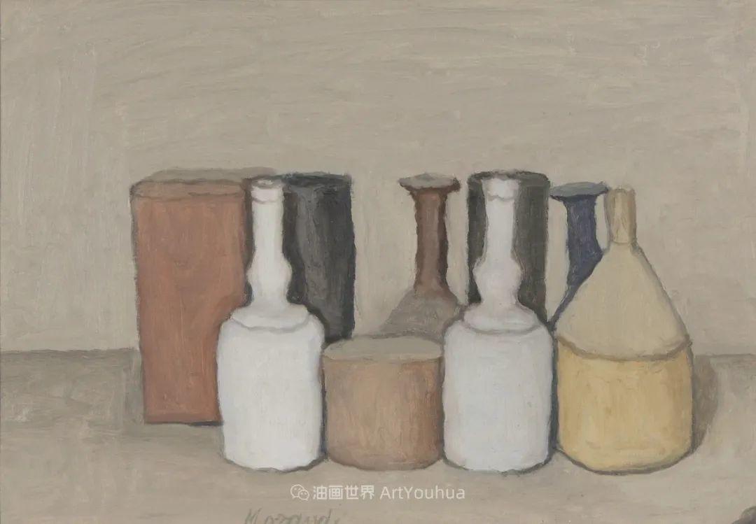 莫兰迪几乎从来不用鲜亮的颜色,把几只瓶子画了一生!插图109