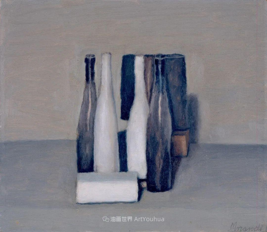 莫兰迪几乎从来不用鲜亮的颜色,把几只瓶子画了一生!插图121