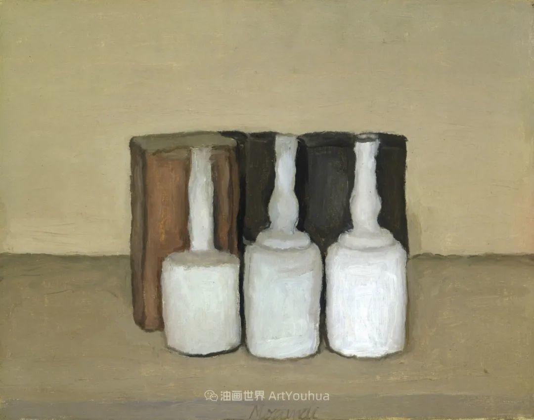 莫兰迪几乎从来不用鲜亮的颜色,把几只瓶子画了一生!插图131
