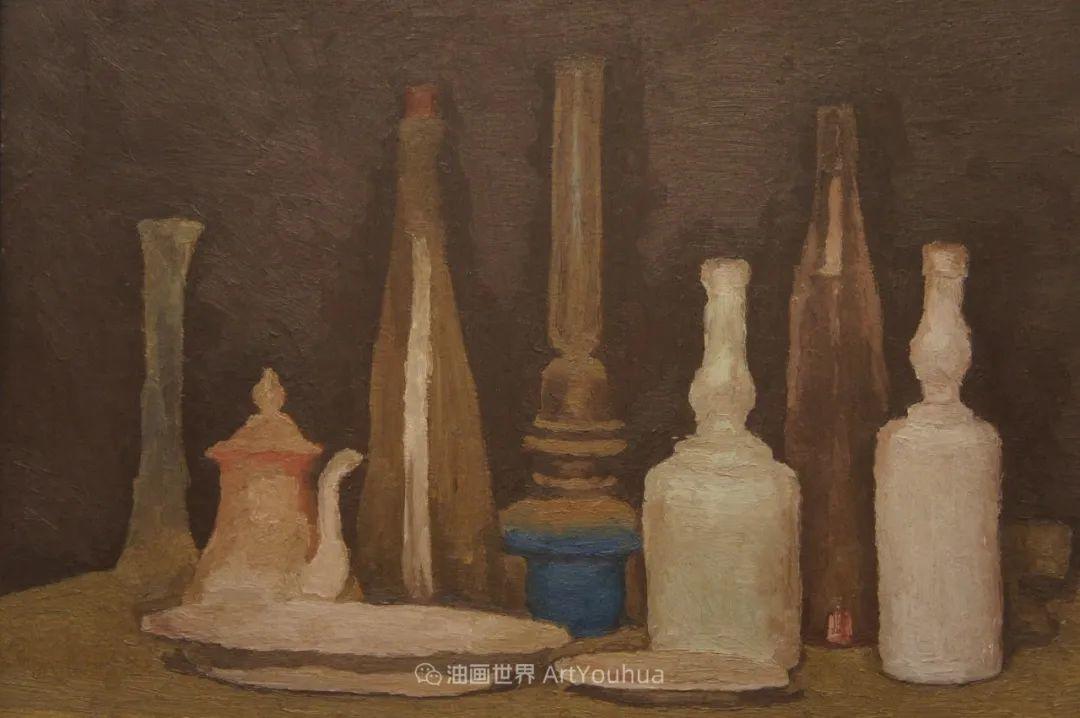 莫兰迪几乎从来不用鲜亮的颜色,把几只瓶子画了一生!插图135