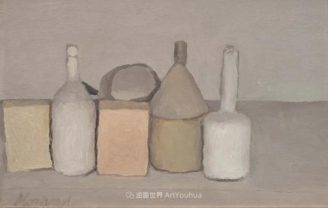 莫兰迪几乎从来不用鲜亮的颜色,把几只瓶子画了一生!插图137