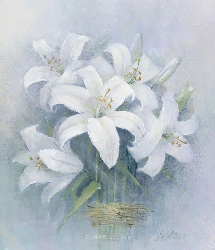 清新淡雅的花卉,英国画家彼得·麦高文插图57