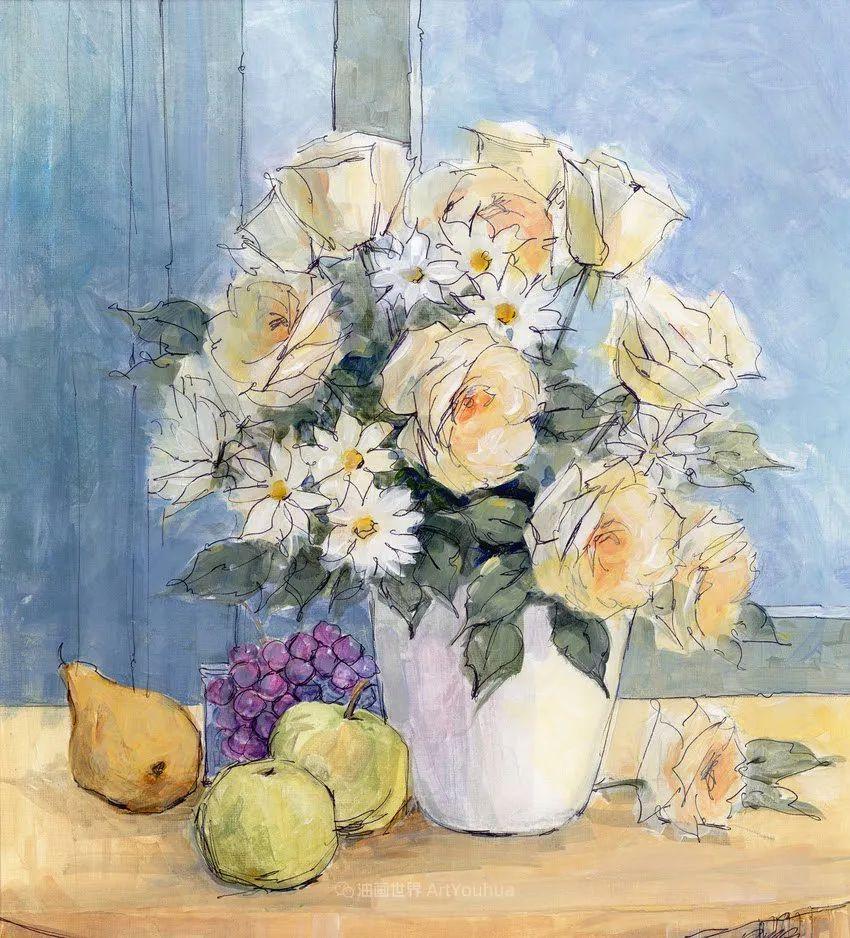 清新淡雅的花卉,英国画家彼得·麦高文插图77
